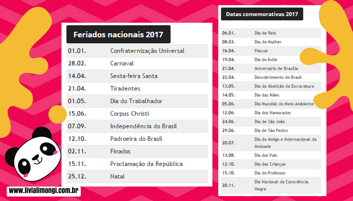 Calendário 2017 com feriados